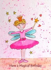 Birthday Children artwork fairy magic for-children personalised online greeting card