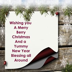 christmas for-him, for-her, maroon, leaves, blessings, berries personalised online greeting card