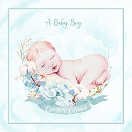 baby Boy, Mint, Blue personalised online greeting card