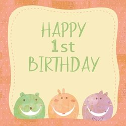 DiSigned4U Ist Birthday monster Birthday Children , kids, children's age, monster,  personalised online greeting card