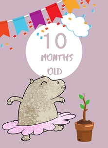 Hippo,Banner,Milestone 10 months,Colourful,Plant, personalised online greeting card
