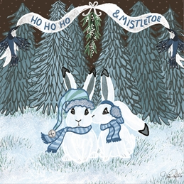 Snowshoe Hares Under the Mistletoe