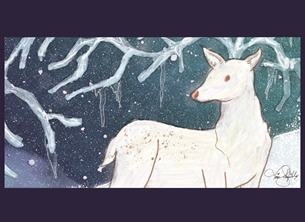 Reindeer, Deer, Icicle, North Pole, Winter Solstice, Ice, Snow, Holidays personalised online greeting card