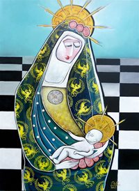 art mary jesus baby crown z%a personalised online greeting card