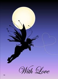 General  Fairy Silhouette Moon Heart Blue light peach happy   personalised online greeting card