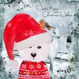 WESTIE christmas dogs personalised online greeting card