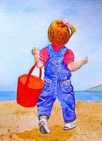 General child girl sea beach water bucket red blue seascape dad son  granddad  uncle mum daughter Nan aunt friend for-children personalised online greeting card