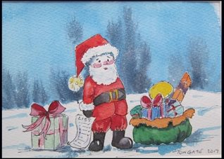 Christmas Santa, Holiday, Presents, Snow, Father  Gifts, Funny, Humorous,  personalised online greeting card
