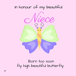 sympathy memory bereavement Niece Butterfly In Memory Pink Blue Green Purple Black Sad for-her Wholesale  personalised online greeting card