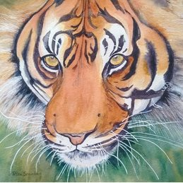 Art tiger wildlife  personalised online greeting card