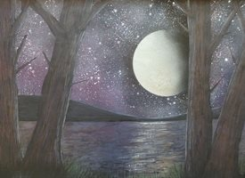 General lake, trees, moon, nature, night, star personalised online greeting card