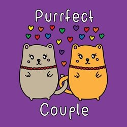 General Valentine's Day Anniversary Wedding Civil Partnership love gay pride cat kitten purrfect perfect pride lgbt same sex rainbow personalised online greeting card