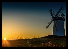 NorthLight Photo-Art Windmill Sunset Photography andbc, windmill, sunset, Millisle, Bangor, Ards,Donaghadee, Ards Peninsula, inspiration, happy, joy, optimistic, sympathy, warm, peaceful, serene, tranquil,  personalised online greeting card
