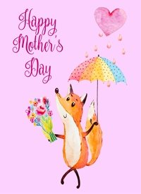 Mothers  mother's day, fox, animal, mother, mum,  personalised online greeting card