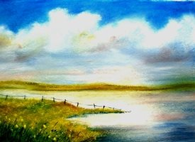 General artwork Cornwall lake landscape water for-her for-him personalised online greeting card