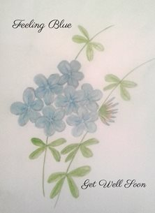 Well blue flowers watercolour  personalised online greeting card