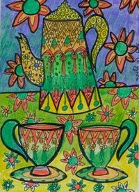 General tea time,tea pot,cups,colourful, personalised online greeting card