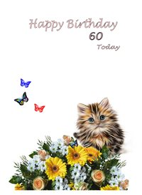 Birthday Cat butterflies flowers white grey green yellow 60 animals z%a personalised online greeting card