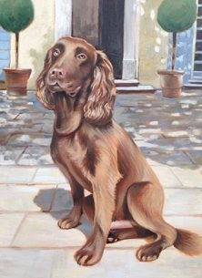 art Springer Spaniel Brown Dog painting artist birthday anniversary art card dogs personalised online greeting card
