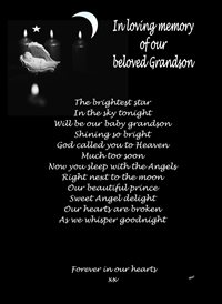 sympathy Angel Moon Candles Poetry Sad grandson z%a personalised online greeting card