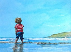 Art beach water child children sea z%a personalised online greeting card