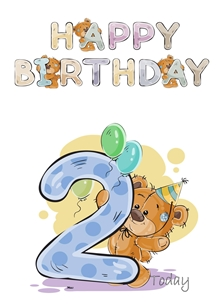 Birthday children For Children Water Colour Teddy Age 2  personalised online greeting card