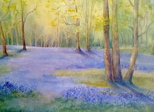 art bluebells, bluebell woods, spring personalised online greeting card