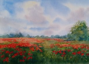 Tessa Spanton Artist Poppyfield Art poppy, wild flowers, poppyfield, landscape, nature personalised online greeting card