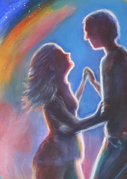 dance, couple, colourful personalised online greeting card