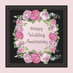 Anniversary Pink, Black, Roses, Floral z%a personalised online greeting card