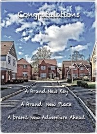 New Home new, house, move, key, home personalised online greeting card