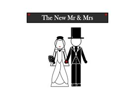 Wedding , Mr, Mrs,  Marriage, couple, happy couple. personalised online greeting card