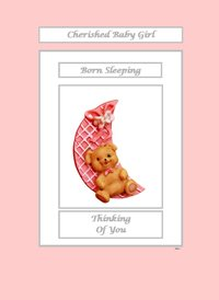 sympathy Teddy Bear Moon Pink Sad  z%a personalised online greeting card