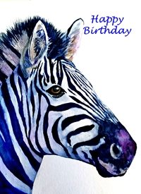 Birthday artwork zebra wildlife animals for-him for-her personalised online greeting card