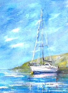 art boat sea water sky hills blue white green for-him for-her personalised online greeting card