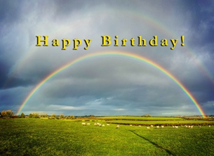 Birthday for-him, for-her, rainbow, animals, sheep, farm, meadow,  personalised online greeting card