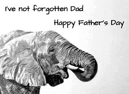Fathers artwork elephant animal wildlife zoo monochrome for-him personalised online greeting card