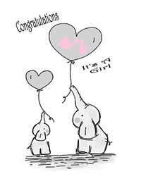 baby Elephant Heart Balloon Grey Pink White Happy  girl z%a personalised online greeting card