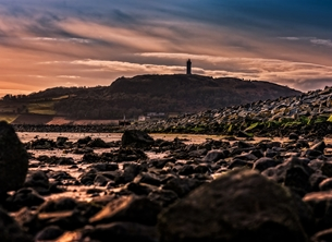 Photography andbc, sunset, evening, sky, sea, shore, coast, mountain, strangford, lough, Newtownards, Scrabo Tower, Ards Peninsula,  inspiration, happy, joy, optimistic, peaceful, tranquil, serene, warm, sympathy, dramatic,  personalised online greeting card