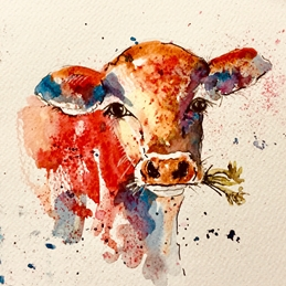 Art Cows, watercolour personalised online greeting card