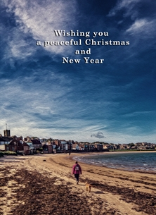 Christmas Christmas, Xmas, peaceful, serene, scotland, beach, shore, seaside, coast, autumn personalised online greeting card