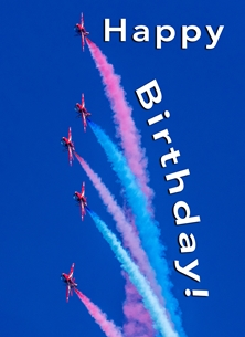 RAF, ^Red Arrows^, aeroplane, airplane, plane, aviation, jets personalised online greeting card