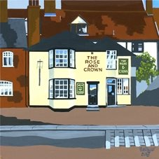 art  greeting cards by Storehouse Cards by Alan Taylor pub card, pub drawing, essex village, quayside, rose and croen, wivenhoe essex,  The Rose and Crown