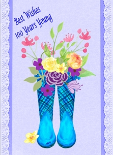 Her Nibs  100 years young  Birthday For-Her 100 Wellies Flowers Blue Pink Green Yellow Orange Happy  personalised online greeting card