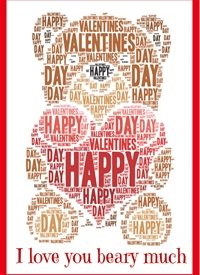 Valentines valentine love romance bear heart brown  personalised online greeting card