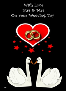 Her Nibs  Mrs & Mrs Love Swans  wedding Same sex Marriage Female  Swans Rings Heart Stars Red Black White for-her Wholesale personalised online greeting card