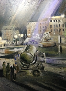 art London Wartime Searchlight Vintage War Bombing painting art artwork  personalised online greeting card