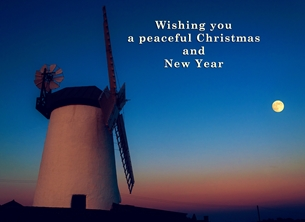 christmas year  Christmas, Xmas, sunset, windmill, moon, evening, northern ireland, andbc, personalised online greeting card