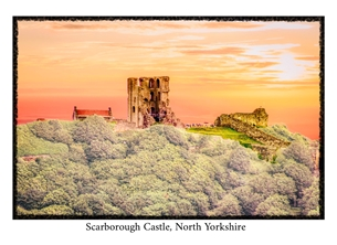 Photography general Scarborough Castle, Yorkshire, Yorkshire Coast, sunset, English, Heritage, historic, general, photographic, photography, local interest personalised online greeting card