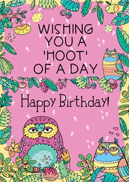 birthday  owls personalised online greeting card